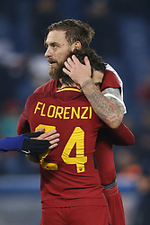 December 5, 2017 - Rome, Italy - Daniele De Rossi and Alessandro Florenzi of Roma celebrates after defeating Qarabag in their UEFA Champions League Group C soccer match in Rome. Roma won the match 1-0. (Credit Image: © Giampiero Sposito/Pacific Press via ZUMA Wire)