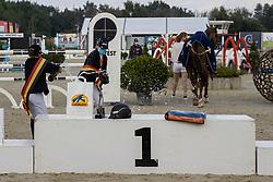 Podium BK Scholieren, De Boeck Kasper, Peeters Jef, Vandousselaere Paris<br /> Belgisch Kampioenschap Jeugd Azelhof - Lier 2020<br /> © Hippo Foto - Dirk Caremans<br /> 02/08/2020