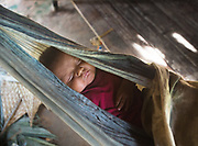 Baby sleeping in a hammock. At the house of Carmen and Melicio.