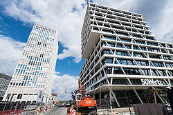 View of new office towers for Total and  50Hertz company tower in new Europacity property development under construction  in Berlin Germany