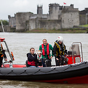 27.07.17.          <br /> Ireland Women's Rugby captain Niamh Briggs was mobbed by young fans in Limerick earlier today (Thursday) as she arrived in the city by boat for the Women's Rugby World Cup trophy tour.<br /> <br /> Pictured are left to right, Mark O'Brien, LMSAR, Michaelle Flaherty, Aviva Stadium, Niamh Briggs, Ireland Women's Rugby captain and Karen Keehan, LMSAR.<br /> <br /> <br />  The Limerick based garda and Munster fullback was escorted on the River Shannon by Limerick Marine Search and Rescue along with Nevsail kayakers as she made her way to Arthur's Quay jetty to be officially met by Mayor of Limerick, Cllr Stephen Keary. Picture: Alan Place