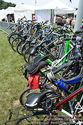 Bikes are stored in a cordoned area that is monitored.