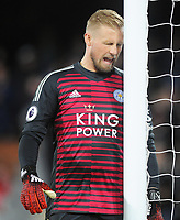 Football - 2018 / 2019 Premier League - Fulham vs. Leicester City<br /> <br /> Kasper Schmeichel of Leicester head butts the goal post after letting in the first goal for Fulham, at Craven Cottage.<br /> <br /> COLORSPORT/ANDREW COWIE