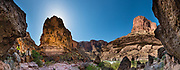 Tall cliffs surround the trail to Elves Chasm at Colorado River Mile 117.2 (measured downstream from Lees Ferry). Day 8 of 16 days rafting 226 miles down the Colorado River in Grand Canyon National Park, Arizona, USA. Multiple overlapping photos were stitched to make this panorama.