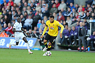 Troy Deeney of Watford in action. Premier league match, Swansea city v Watford at the Liberty Stadium in Swansea, South Wales on Saturday 22nd October 2016.<br /> pic by  Andrew Orchard, Andrew Orchard sports photography.