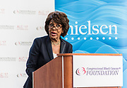 "WASHINGTON, DC -- 9/21/17 -- Congresswoman Maxine Waters hosts the unveiling of Nielsen's seventh annual Diverse Intelligence Series report on African-Americans at the Congressional Black Caucus Foundation annual conference. The 2017 report, ""African-American Women: Our Science, Her Magic"", details data and consumer insights on African-American women's consumer preferences and brand affinities that are driving total Black spending power toward a record $1.5 trillion by 2021..…by André Chung #_AC16669"