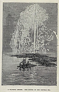 A Majestic Geyser. The Geyser of the Central Sea from the book ' A journey to the centre of the earth ' by Jules Verne (1828-1905) Published in New York by Scribner, Armstrong & co 1874