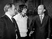 After his World Championship Cross Country win, John Treacy (Waterford) is received by  President Hillery at Aras an Uachtarain. With them is Bill Coghlan, President B.L.E..<br />