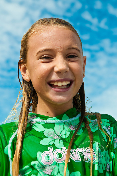 Portrait of 7 year old girl at the beach, Kauai, Hawaii