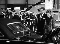 President Ronald Reagam and wife Nancy Reagan wait to greet Queen Elizabeth 11 on her visit to Santa Barbara, California,USA in March 1983. Photo by Terry Fincher