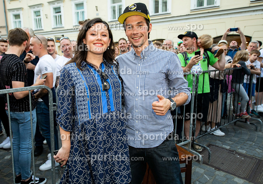 Primoz Roglic with his girlfriend Lora Klinc during reception of best Slovenian riders after Giro d'Italia 2019 and Tour of California 2019, on June 3rd, 2019, in Mestni trg, Ljubljana, Slovenia. Photo by Vid Ponikvar / Sportida
