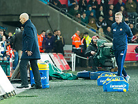 Football - 2016 / 2017 Premier League - Swansea City vs. Stoke City<br /> <br /> Swansea City manager Bob Bradley walks off down the tunnel at half time, followed by Sunderland Manager David Moyes —, at The Liberty Stadium.<br /> <br /> COLORSPORT/WINSTON BYNORTH