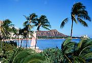 Waikiki with catamaran,oahu,  Hawaii