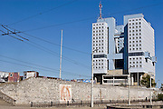 Kaliningrad, Russia, 05/05/2007..The ruins of the King's Castle with the never-used City Soviet headquarters behind..