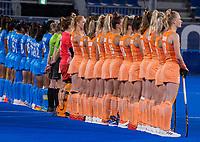 TOKIO -  Line up Oranje tijdens het volkslied, voor  de wedstrijd dames , Nederland-India (5-1) tijdens de Olympische Spelen   .   COPYRIGHT KOEN SUYK