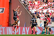 Hull FC left wing Fetuli Talanoa (5) catches the high ball and scores a try to make the score 4-6 during the Ladbrokes Challenge Cup Final 2017 match between Hull RFC and Wigan Warriors at Wembley Stadium, London, England on 26 August 2017. Photo by Simon Davies.
