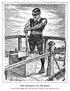 """The Headsman of the Reich. """"I haven't had a holiday since 1933 - and now I'm going to work harder than ever."""" (Hitler as executioner with an axe dressed in black with Swastika armband on a chopping block platform)"""