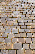 Cobblestone detail in old town Vieux Lyon, France (UNESCO World Heritage Site)