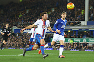 James McArthur of Crystal Palace (l) is unable to latch onto a pass. Barclays Premier league match, Everton v Crystal Palace at Goodison Park in Liverpool, Merseyside on Monday 7th December 2015.<br /> pic by Chris Stading, Andrew Orchard sports photography.