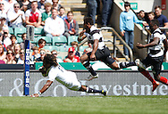 Picture by Andrew Tobin/Tobinators Ltd +44 7710 761829.26/05/2013.Marland Yarde of England scores in the 2nd half during the match between England and the Barbarians at Twickenham Stadium, Twickenham.