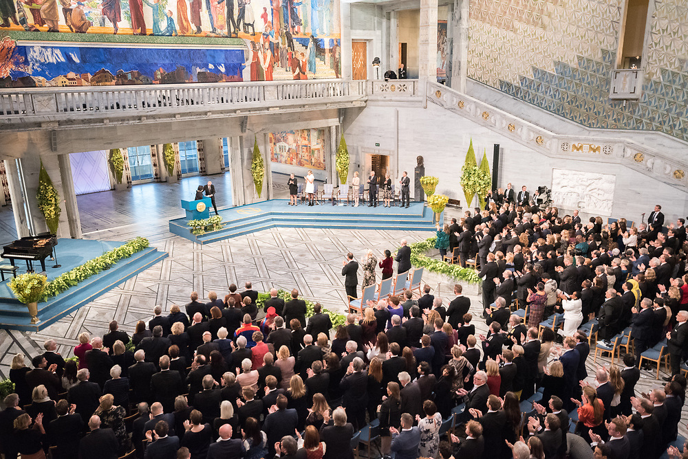 """10 December 2017, Oslo, Norway: Oslo City Hall hosts the Nobel Peace Prize award ceremony on 9-10 December 2017. The prize in 2017 goes to the International Campaign to Abolish Nuclear Weapons (ICAN), for """"its work to draw attention to the catastrophic humanitarian consequences of any use of nuclear weapons and for its ground-breaking efforts to achieve a treaty-based prohibition of such weapons""""."""