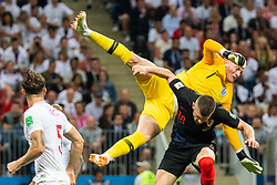 July 11, 2018 - Moscow, Russia - 180711 goalkeeper Jordan Pickford of England collides with Ante Rebic of Croatia during the FIFA World Cup semi final match between Croatia and England on July 11, 2018 in Moscow..Photo: Petter Arvidson / BILDBYRÃ…N / kod PA / 92085 (Credit Image: © Petter Arvidson/Bildbyran via ZUMA Press)
