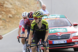 Mikel Nieve (ESP) Mitchelton-Scott, Wout Poels (NED) Team Ineos and Nicolas Edet (FRA) Cofidis on the final Cat 1 climb up to Observatorio Astrofisico de Javalambre during Stage 5 of La Vuelta 2019 running 170.7km from L'Eliana to Observatorio Astrofisico de Javalambre, Spain. 28th August 2019.<br /> Picture: Eoin Clarke | Cyclefile<br /> <br /> All photos usage must carry mandatory copyright credit (© Cyclefile | Eoin Clarke)