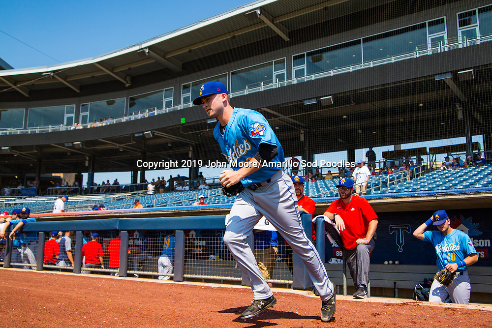 Amarillo Sod Poodles pitcher Aaron Leasher (32) takes the field against the Tulsa Drillers during the Texas League Championship on Sunday, Sept. 15, 2019, at OneOK Field in Tulsa, Oklahoma. [Photo by John Moore/Amarillo Sod Poodles]