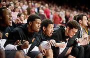 Feb 16, 2013; Fayetteville, AR, USA; Players on the Missouri Tigers bench watch during the final seconds of a game against the Arkansas Razorbacks at Bud Walton Arena. Arkansas defeated Missouri 73-71. Mandatory Credit: Beth Hall-USA TODAY Sports