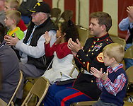 Westfall, Pennsylvania - Delaware Valley  Elementary School students and veterans applaud during an assembly in the gymnasium where veterans were honored on Nov. 8, 2013.
