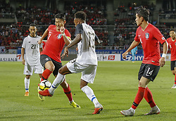 September 7, 2018 - Goyang, Gyeonggi, South Korea - September 7, 2018-Goyang, South Korea-Son Heungmin of South Korea and Rodney Wallace of Costa Rica action on the field during an Football A Match South Korea vs Costa Rica at Goyang Sports Complex in South Korea. Match Won South Korea, Score by 2-0. (Credit Image: © Ryu Seung-Il/ZUMA Wire)