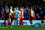 Bradford City midfielder Sean Scannell (7) gets into the face of Sunderland midfielder Lee Cattermole (6) and is sent off and receives a red card  during the EFL Sky Bet League 1 match between Bradford City and Sunderland at the Northern Commercials Stadium, Bradford, England on 6 October 2018.