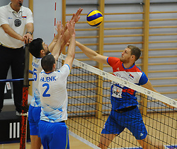 Mitja Gasparini of Slovenia and Alen Pajenk of Slovenia vs Drazen Luburic of Serbia during friendly volleyball match between National teams of Serbia and Slovenia, on August 18, 2017, in Belgrade, Serbia. Photo by Nebojsa Parausic / MN press / Sportida