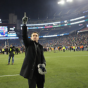New England Revolution Head Coach Jay Heaps salutes the crowd after his side win during the New England Revolution Vs New York Red Bulls, MLS Eastern Conference Final, second leg. Gillette Stadium, Foxborough, Massachusetts, USA. 29th November 2014. Photo Tim Clayton