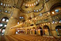 Interior of the Blue Mosque (Sultan Ahmet Cami), Istanbul, Turkey