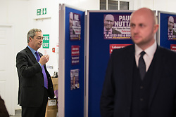 © Licensed to London News Pictures . 06/02/2017. Stoke-on-Trent, UK. NIGEL FARAGE seen in the UKIP shop in Hanley this afternoon , 6th February 2017 . Former UKIP leader Nigel Farage will join current leader Paul Nuttall at a public meeting at Victoria Hall in Hanley , during Nuttall's campaign to win the seat of Stoke-on-Trent Central . Photo credit: Joel Goodman/LNP