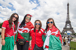 PARIS, FRANCE - Saturday, June 25, 2016: Wales supporters by the Eiffel Tower, Paris ahead of the match against Northern Ireland during the Round of 16 UEFA Euro 2016 Championship at the Parc des Princes. (Pic by Paul Greenwood/Propaganda)