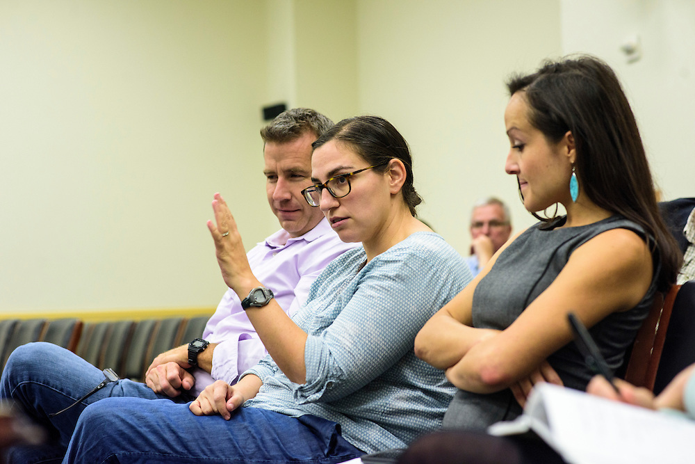 Washington, D.C. - October 07, 2016: House Energy and Commerce Committee Staff Jacqueline Cohen, flanked on the right by Earthjustice lobbyist Andrea Delgado, and on the left by David Cwiertny, AAAS Congressional Science and Engineering Fellow, respond to the Hyperbolics presentation describing the environmental dangers of lead wheel weights in the Rayburn House Office Building Friday October 7, 2016.<br /> <br /> The Hyperbolics are a First Lego League team based out of Sterling School in Greenville SC, who made a trip to DC ask government officials to ban lead wheel weights Friday October 7, 2016.<br /> <br /> <br /> CREDIT: Matt Roth for Earthjustice