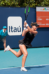 March 18, 2019 - Miami Gardens, FL, U.S. - MIAMI GARDENS, FL - MARCH 18: Paula Badosa Gibert (ESP) in action during the Miami Open on March 18, 2019 at Hard Rock Stadium in Miami Gardens, FL. (Photo by Aaron Gilbert/Icon Sportswire) (Credit Image: © Aaron Gilbert/Icon SMI via ZUMA Press)