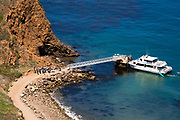 Island Packers boat at the Scorpion Cove dock, Santa Cruz Island, Channel Islands National Park, California USA