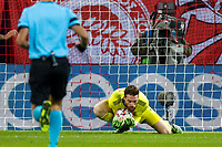 PIRAEUS, GREECE - NOVEMBER 25: José Sá of Olympiacos FC makes a save during the UEFA Champions League Group C stage match between Olympiacos FC and Manchester City at Karaiskakis Stadium on November 25, 2020 in Piraeus, Greece. ((Photo by MB Media)