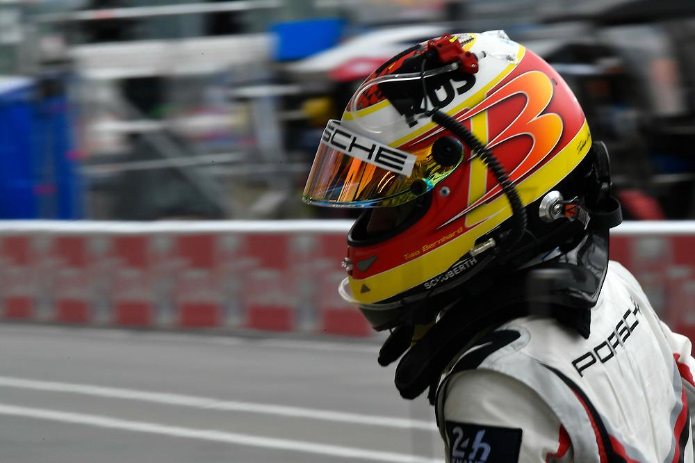 #94 Porsche GT Team Porsche 911 RSR: Romain Dumas, Timo Bernhard, Sven Müller, pit stop<br /> Saturday 16 June 2018<br /> 24 Hours of Le Mans<br /> 2018 24 Hours of Le Mans<br /> Circuit de la Sarthe WI FR<br /> World Copyright: Scott R LePage