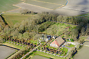 Nederland, Friesland, Gemeente Ferweradeel, 28-02-2016; Hegebeintum (Hogebeintum), Harsta State met naastgelegen boerderij. De State is een stins, historisch landhuis.<br /> Harsta mansion with adjacent farm, northern Friesland.<br />  <br /> luchtfoto (toeslag op standard tarieven);<br /> aerial photo (additional fee required);<br /> copyright foto/photo Siebe Swart