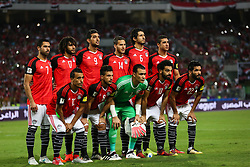 October 8, 2017 - Alexandria, Egypt - (L-R) Egypt's Mohamed Abdel-Shafy, Tarek Hamed, Essam El-Hadary, Mohamed Salah, Saleh Gomaa, Ahmed Fathy, Mohamed Elneny, Hassan Ahmed, Ramadan Sobhi, Ahmed Hegazi, Mohamed Abdel-Shafy pose for a team picture during their World Cup 2018 Africa qualifying match between Egypt and Congo at the Borg el-Arab stadium in Alexandria on October 8, 2017. (Credit Image: © Ahmed Awaad/NurPhoto via ZUMA Press)