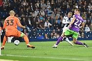 West Bromwich Albion striker (on loan from Newcastle United) Dwight Gayle (16) scores a goal from open play 2-0 during the EFL Sky Bet Championship match between West Bromwich Albion and Bristol City at The Hawthorns, West Bromwich, England on 18 September 2018.