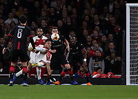 Football - 2018 / 2019 UEFA Europa League - Round of Sixteen, Second Leg: Arsenal (1) vs. Rennes (3)<br /> <br /> Pierre-Emerick Aubameyang (Arsenal FC) attempts an ambitious strike at goal at The Emirates.<br /> <br /> COLORSPORT/DANIEL BEARHAM
