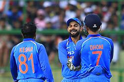 August 27, 2017 - Kandy, Sri Lanka - Indian captain Virat Kohli celebrates during the 3rd One Day International cricket match between Sri Lanka and India at the Pallekele international cricket stadium at Kandy, Sri Lanka on Sunday 27 August 2017. (Credit Image: © Tharaka Basnayaka/NurPhoto via ZUMA Press)