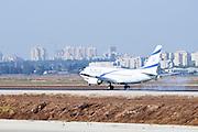 Israel, Ben-Gurion international Airport El Al Boeing 737-800 landing smoke from the tires is visible