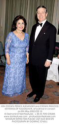 HRH CROWN PRINCE ALEXANDER and CROWN PRINCESS KATARINA OF YUGOSLAVIA, at a dinner in London on 8th May 2002.	OZS 13