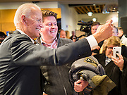 30 JANUARY 2020 - NEWTON, IOWA: Vice President JOE BIDEN takes a selfie on the rope line during a campaign event in Newton. About 150 people came to Newton, about 30 miles east of Des Moines, to listen to Vice President Biden talk about his reasons for running for President. Biden used the event to outline the differences between himself and President Trump, while President Trump was in Des Moines Thursday campaigning against Democrats, especially Vice President Biden. Iowa hosts the first event of the presidential election cycle. The Iowa Caucuses are Feb. 3, 2020.            PHOTO BY JACK KURTZ